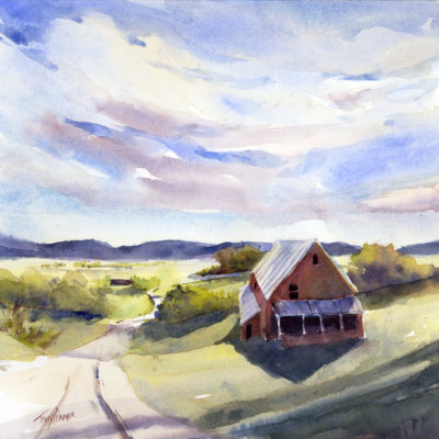 Arrival Of The Greens - watercolor landscape painting of spring by Tony Conner