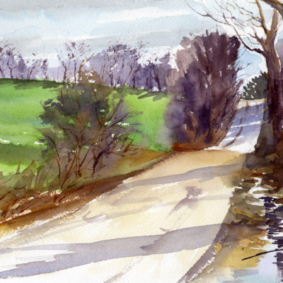 Cold Spring Road April Morning - en plein air watercolor sketch by Tony Conner