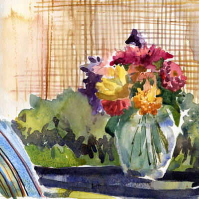 Flowers In Glass Vase Outside - en plein air watercolor sketch by Tony Conner