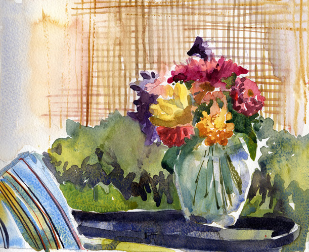 Flowers In A Glass Vase Archival Limited Edition Art Print