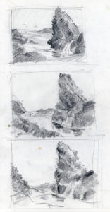 Gathering Tide - composition pencil value sketches