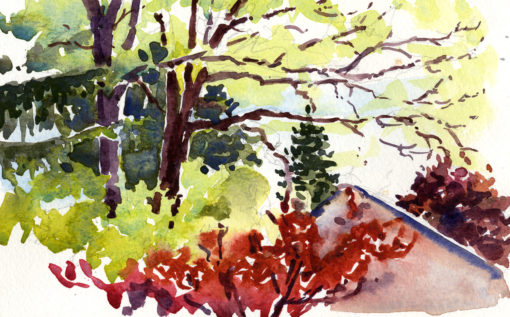Spring Greens Reds - en plein air watercolor painting by Tony Conner