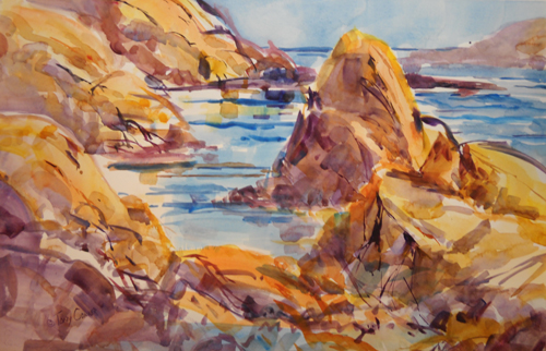 Coast of Maine - watercolor seascape painting by Tony Conner