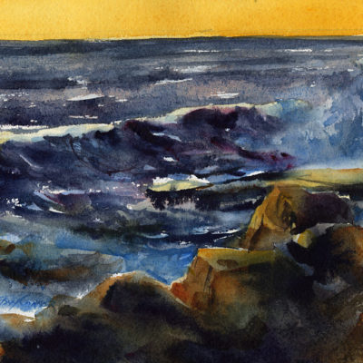 Early Morning Bass Rocks - en plein air seascape painting by Tony Conner