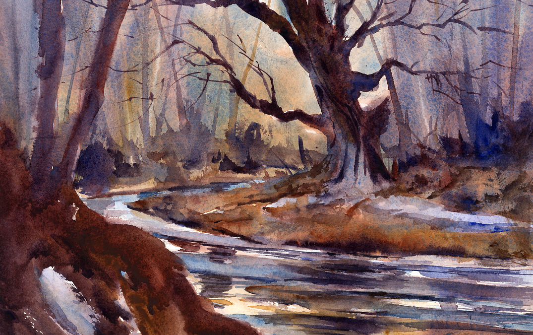 """Melt"" – Early Spring Light And Reflections En Plein Air Landscape Watercolor Painting"