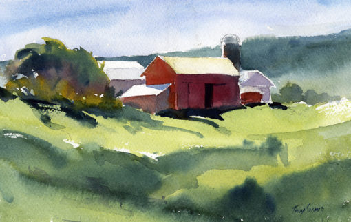 Monks Road Farm - en plein air watercolor landscape painting by Tony Conner