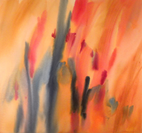 October Symphony Ii Original Abstract Watercolor Painting