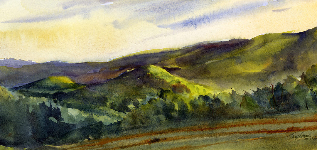 Sugar Hill en plein air watercolor landscape painting by Tony Conner