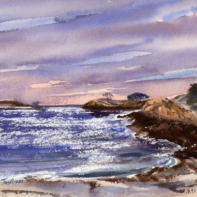 White Beach - en plein air watercolor seascape painting