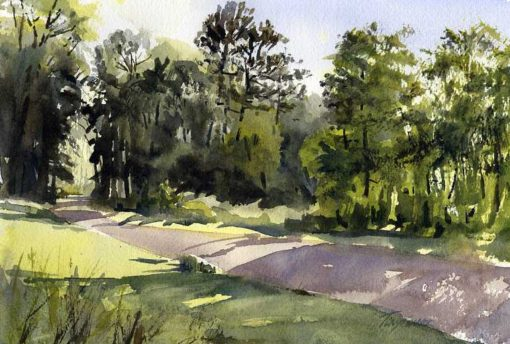 Under Mountain Road - en plein air watercolor landscape painting by Tony Conner