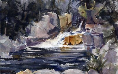 Flume Falls – en plein air watercolor landscape painting of waterfall and stream