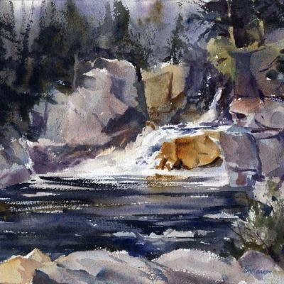 Flume Falls - en plein air watercolor landscape painting by Tony Conner