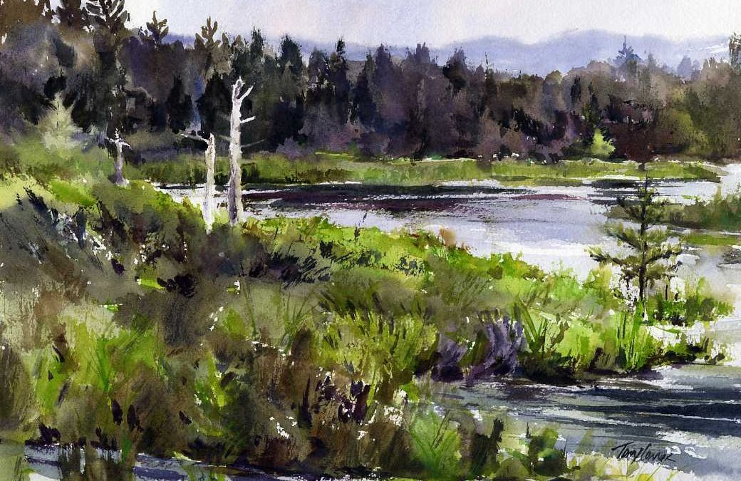 Heron Pond - en plein air watercolor landscape painting of marsh and pond byt Tony Conner