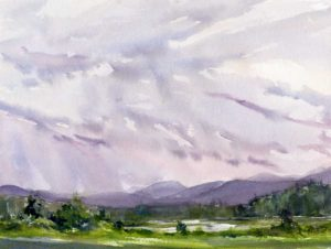 Light Wind_Rain - en plein air watercolor painting by Tony Conner