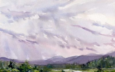 Light Wind, Rain – en plein air watercolor landscape painting