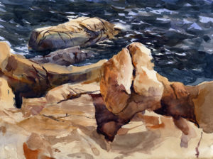 Portrait Of A Rock - en plein air watercolor seascape painting with rocks and surf by Tony Conner