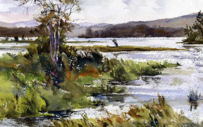 Raquette River, Late Summer – en plein air watercolor painting
