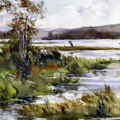 Raquette River_Late Summer - en plein air watercolor landscape painting by Tony Conner