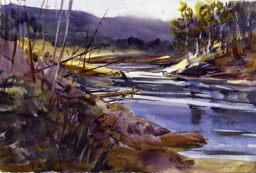 South Creek - en plein air watercolor landscape painting by Tony Conner