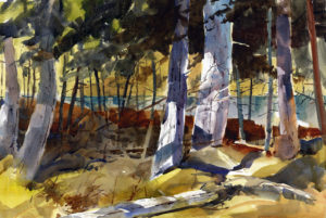 Trees At Black Pond - en plein air watercolor landscape painting by Tony Conner