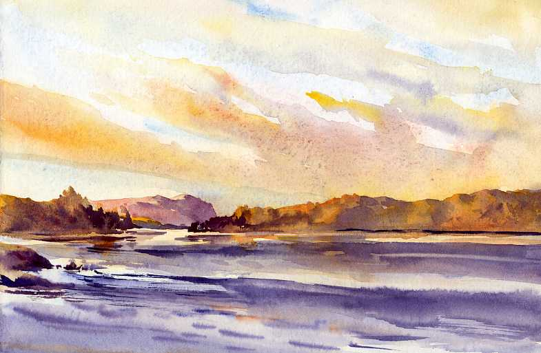 Tupper Morning – early morning light en plein air watercolor painting
