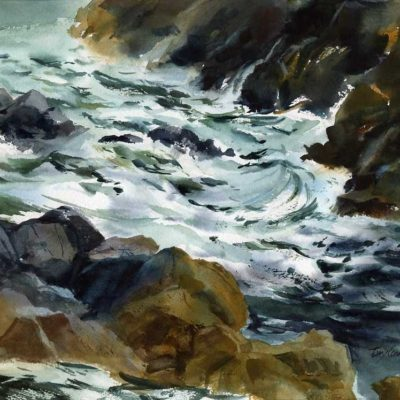 Gold Green Gray - en plein air watercolor seascap by Tony Conner