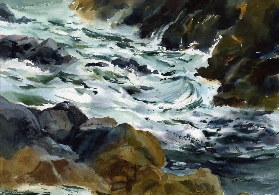 Gold, Green, Gray – watercolor seascape painting