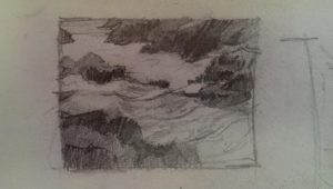 Seascape sketch - pencil sketch of rocks and waterv