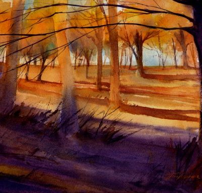 Golden Afternoon - watercolor landscape painting by Tony Conner
