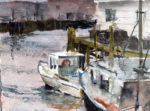 Gloucester Gloom - en plein air watercolor painting boats