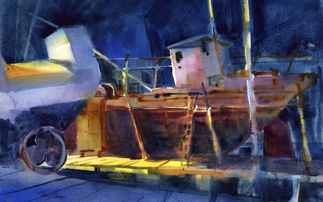 Drydock At Night watercolor painting of boat in drydock at night by Tony Conner