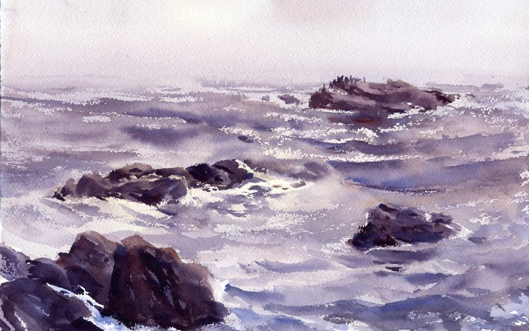 Grey Morning Backshore - en plein air watercolor seascape by Tony Conner