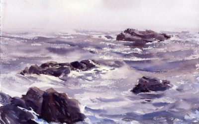 Grey Morning, Backshore – En Plein Air Watercolor Seascape Painting