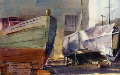 In Between – En Plein Air Watercolor Painting Of Boats