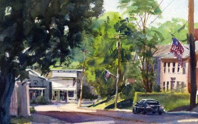 Main Street Sunday – En Plein Air Watercolor Landscape Painting