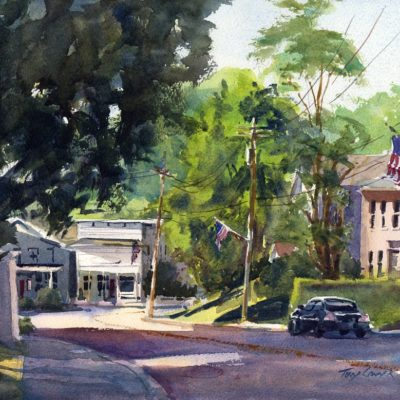 Main Street Sunday - en plein air watercolor landscape painting by Tony Conner