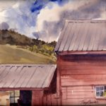 Sheep Hill Afternoon - en plein air watercolor landscape painting by Tony Conner