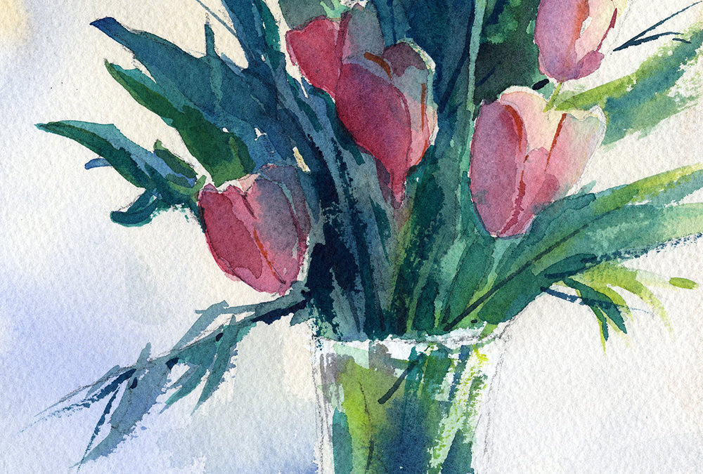 watercolor class painting of tulips in a glass vase