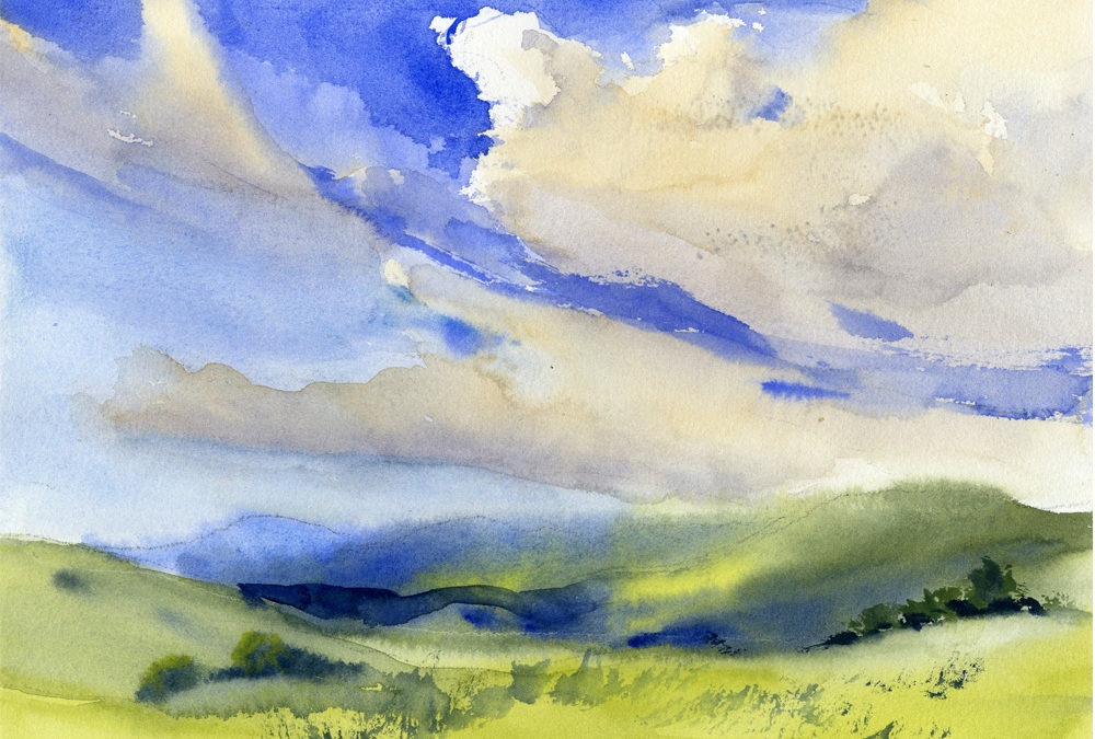 summer sky and landscape watercolor painting class