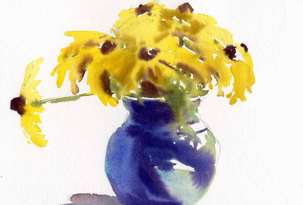flowers in a vase watercolor painting lesson
