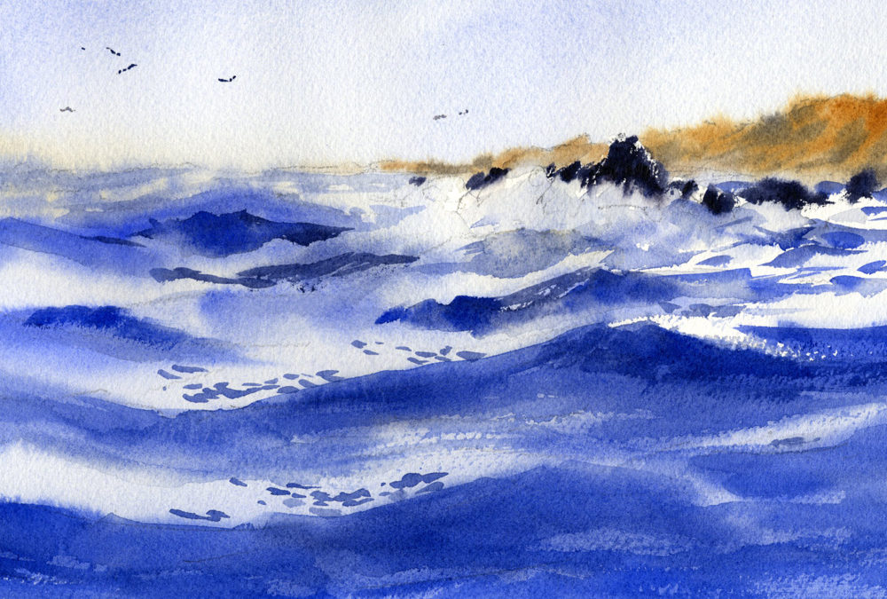 watercolor seascape painting lesson