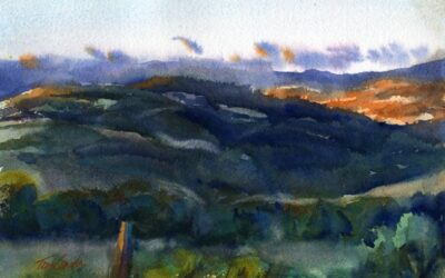 """A South View"" – watercolor landscape painting"