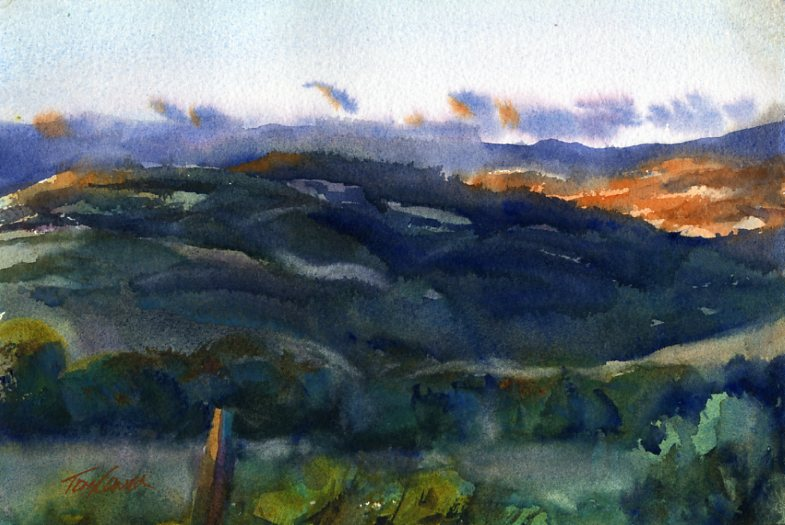 A South View en plein air watercolor painting by Vermont Artist Tony Conner