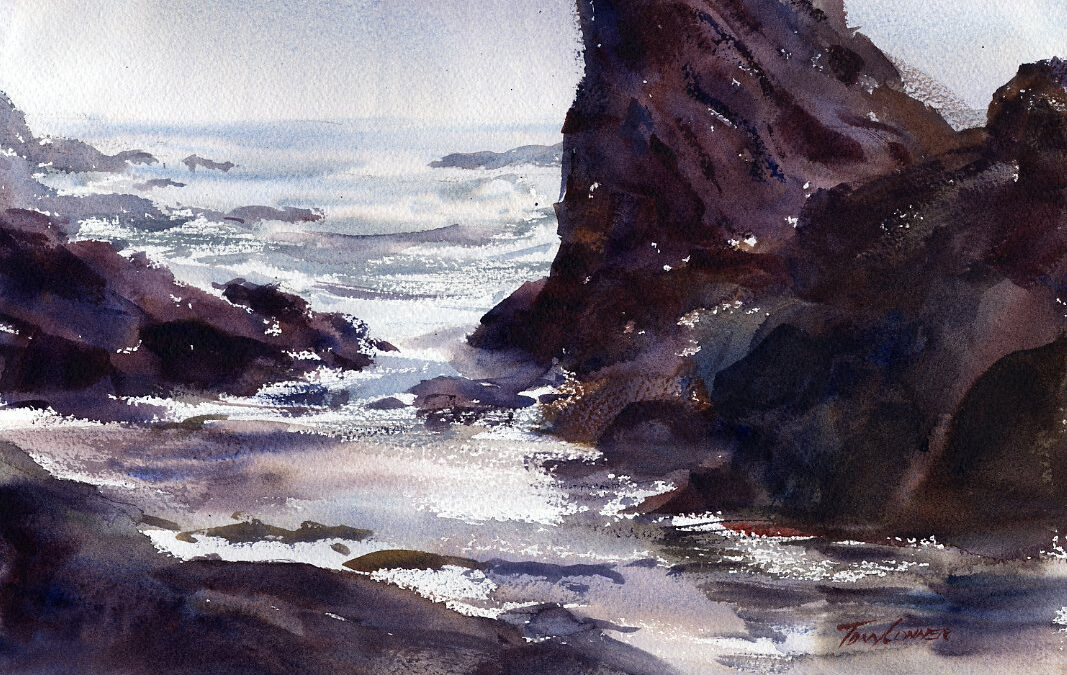 """Ebb Tide"" - watercolor seascape painting by Tony Conner"