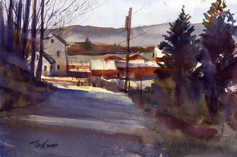 """Farm On Tinkham"" – En Plein Air Watercolor Painting"