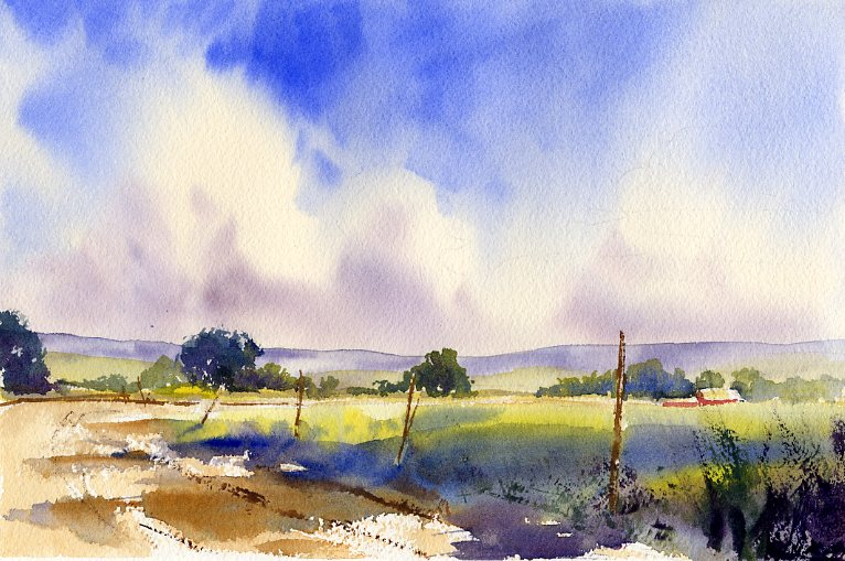 """July"" - watercolor landscape painting by Tony Conner"