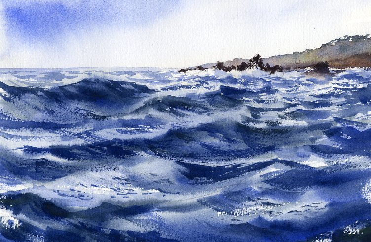 Off The Coast - watercolor seascape painting by Tony Conner