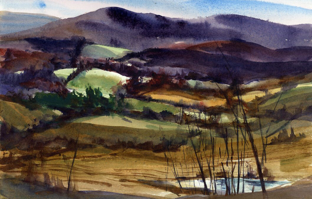 Rhythmn and Contrast en plein air watercolor painting by Tony Conner
