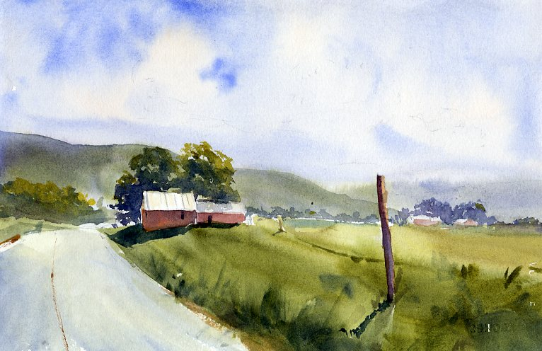 Rt 30 Solstice - landscape watercolor painting by Tony Conner