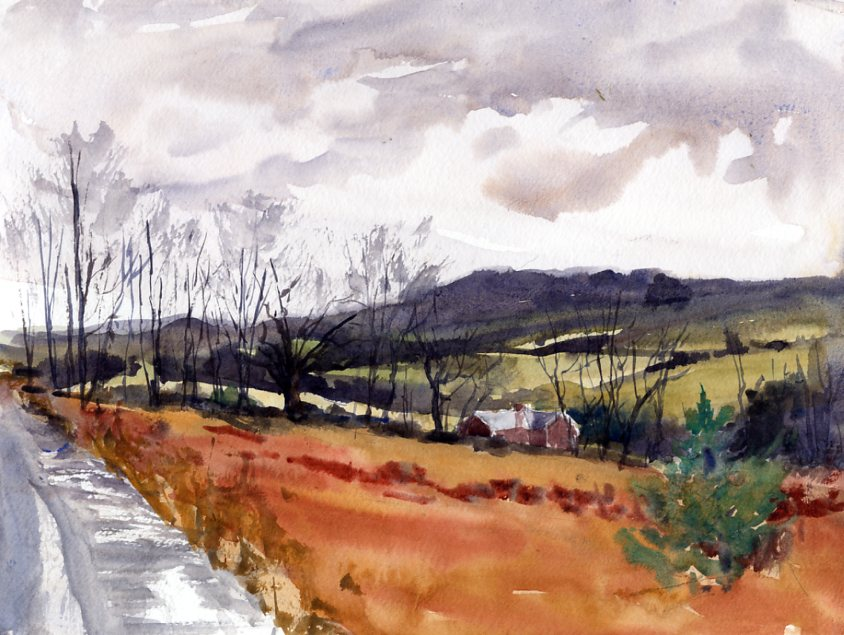 """Three Thirty Twenty"" – en plein air watercolor landscape painting"
